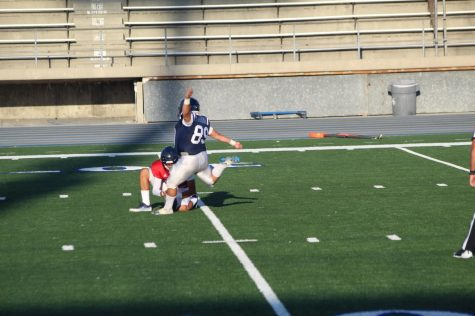 Freshman kicker/punter no. 89, Paul Rodriguez kicked a field goal. Rodriguez is kicking for his first year as a Falcon