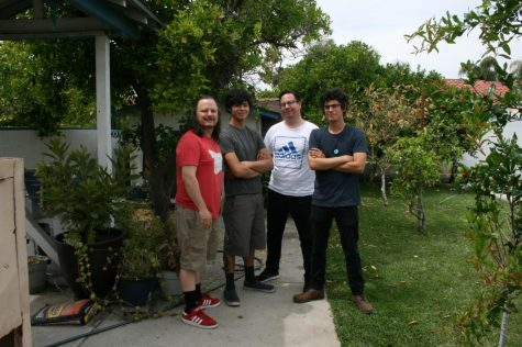 Mark Abbruzzese alongside fellow Bilmurray band mates, Curtis Ortega, Ricardo Salazar and Dennis Zanabria. Ortega and Zanabria are students of Abbruzzese and met in one of the many anthropology classes that Abbruzzese teaches at Cerritos College.
