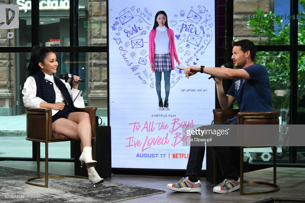 Kevin Polowy (R) interviews Lana Condor during her visit to the Build Series to discuss