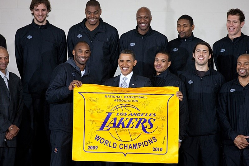 President Barack Obama makes remarks at service event with 2010 NBA Champion Los Angeles Lakers at the THEARC Boys and Girls Club in Washington, District of Columbia, Dec. 13, 2010. (Official White House Photo by Lawrence Jackson)....