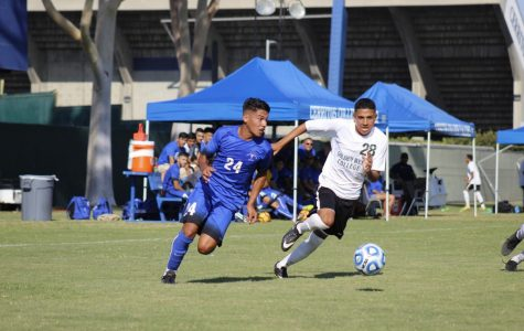 Freshman midfielder, No. 24 Carlos Perez helped control the midfield to keep the opponent scoreless. Perez sped past a defender to create a play for the Falcons at Cerritos College on Sept. 7 against Golden West College.
