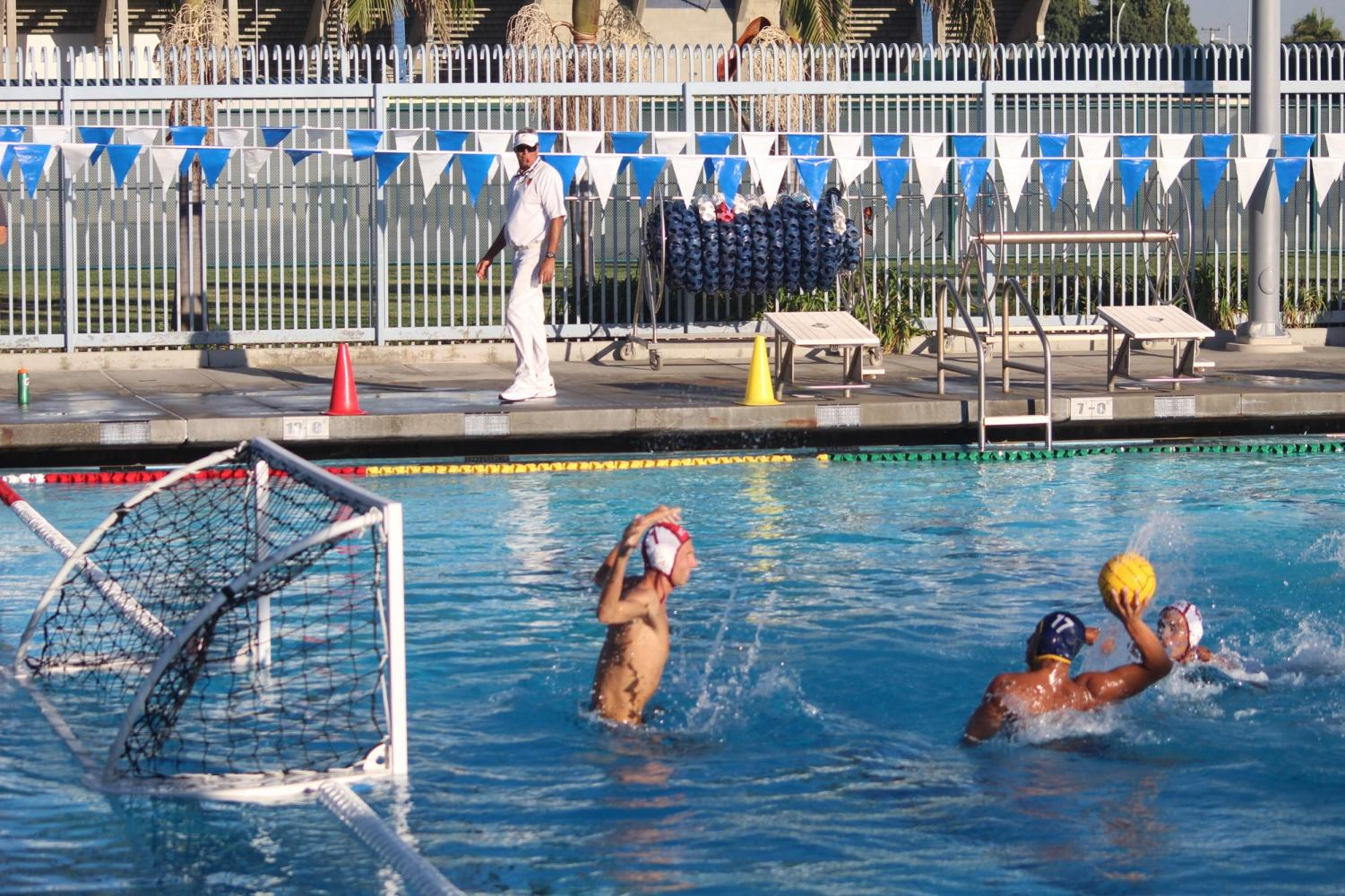 Freshman driver No. 17 Kevin Elizarraraz attempting to shoot through the goalkeeper. Elizarraraz scored four goals and had one assist in the game against Mt. San Antonio College at Cerritos College on Oct. 17, 2018.