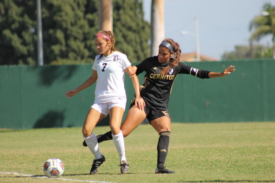 Sophomore defender No. 6 Brianna Yepez fighting for the ball on Oct. 9 against Long Beach City College at Cerritos College.