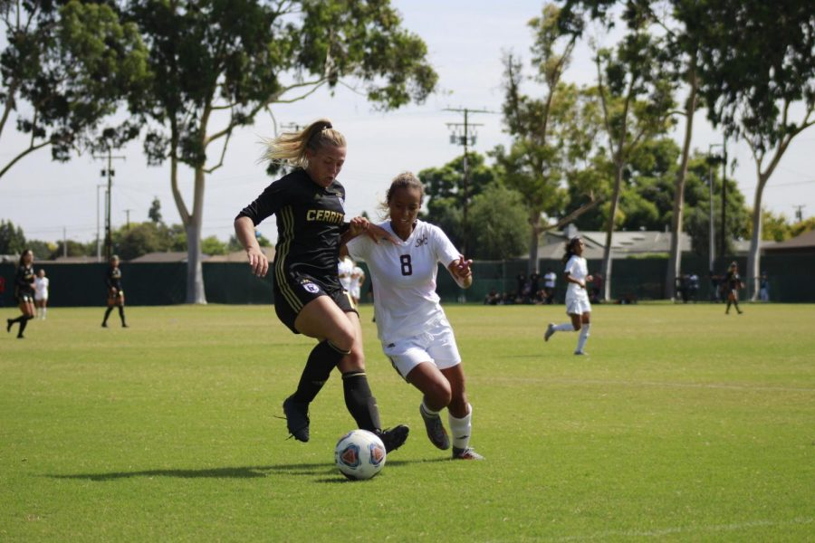 Sophomore forward No. 10 Sydney Carr shielding the ball away from one of the Southwestern College defenders. Carr had two goals and an assist in the match-up at Cerritos College against Southwestern College on Sept. 30, 2018.