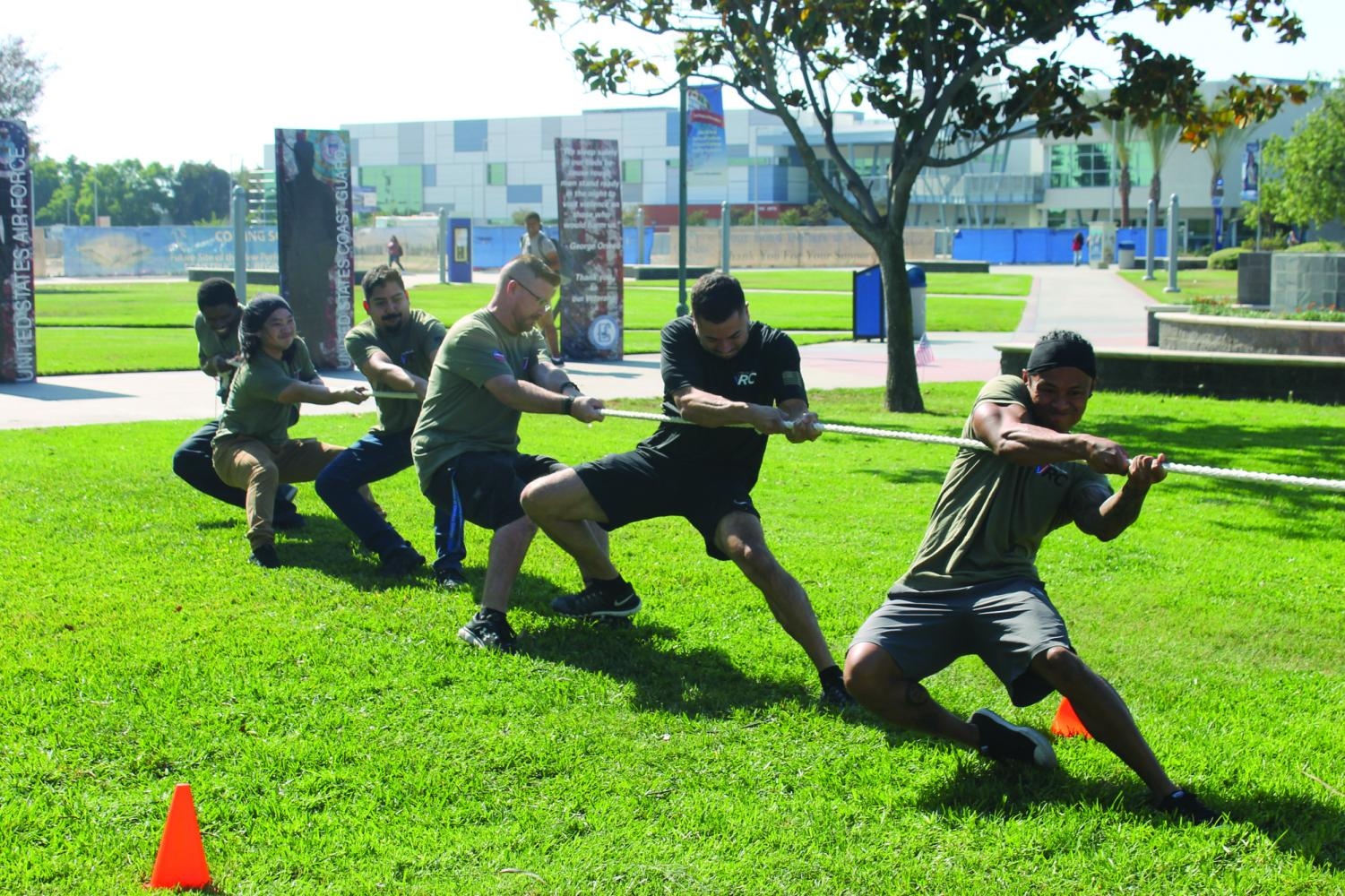Financial aid staff, the Commerce Music Club, and Cerritos College veterans participated in a few rounds of tug-of-war competitions, with financial aid staff  ultimately taking first place. This was the second event of Veterans Week, taking place on Nov. 6.