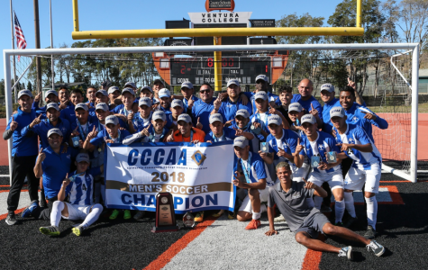 The Cerritos College men's soccer team won the California Community College Athletic Association State Championship against Golden West College, after a successful season. The team managed to tie the game late in the second half and won the game after Golden West College conceded a tie-breaking penalty allowing the Falcons to emerge victorious 2-1, at Ventura College on Dec. 2, 2018. Photo courtesy of Daryl Peterson/Cerritos Sports Information
