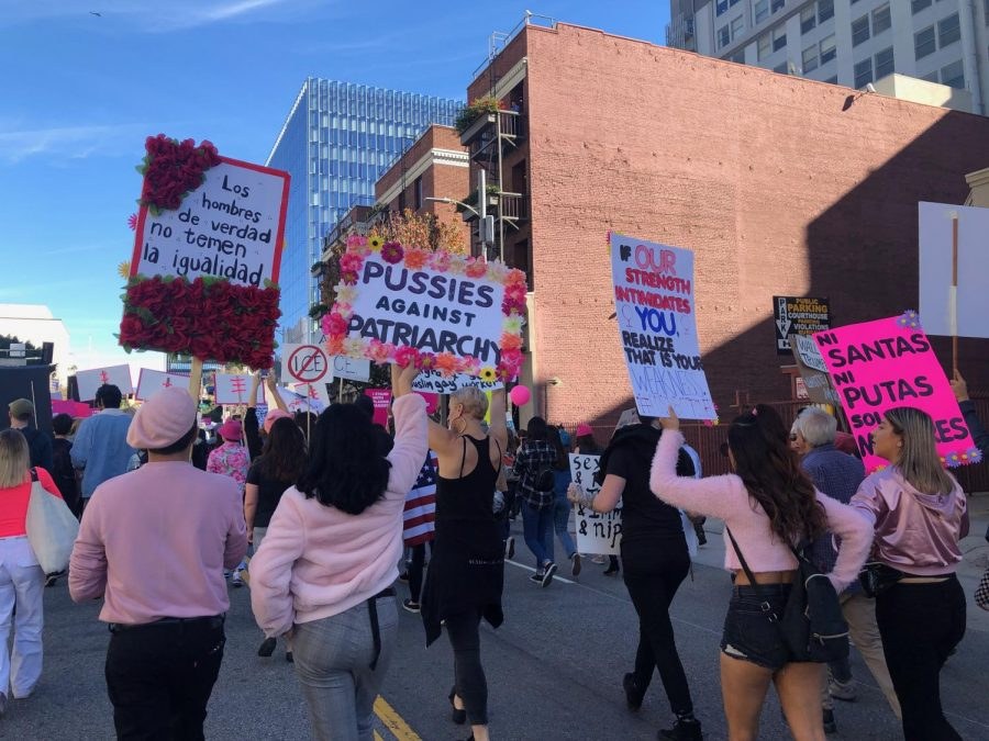 Protestors+gathered+at+Pershing+Square+in+Downtown+Los+Angeles+to+express+their+concerns+over+the+issues+women%2C+and+all+minorities%2C+face+every+day.+They+participated%2C+dressed+head-to-toe+in+pink+and+floral+on+Jan.19.+
