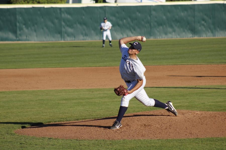 Sophomore starting pitcher No. 35 Eric Winchester pitching in the first inning. Winchester had 103 pitches and 62 strikes in the game against Santa Ana College on Jan. 25, 2019 at Cerritos College.