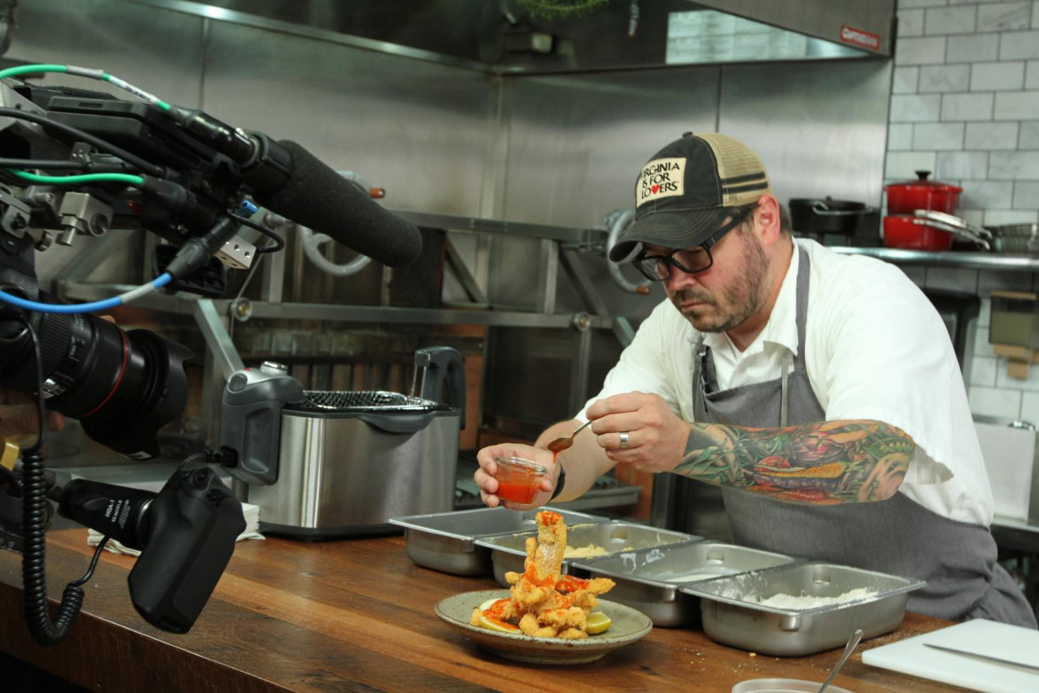 "Southern chef Sean Brock prefers his shaved catfish with a liberal dose of hot sauce. His advice? ""Make it rain hot sauce."""