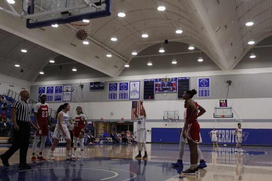 Sophomore guard No. 20 Jesenia Rendon knocks down two free throws to the Falcons up by eight points against Long Beach City College at Cerritos College on Feb. 8, 2019.