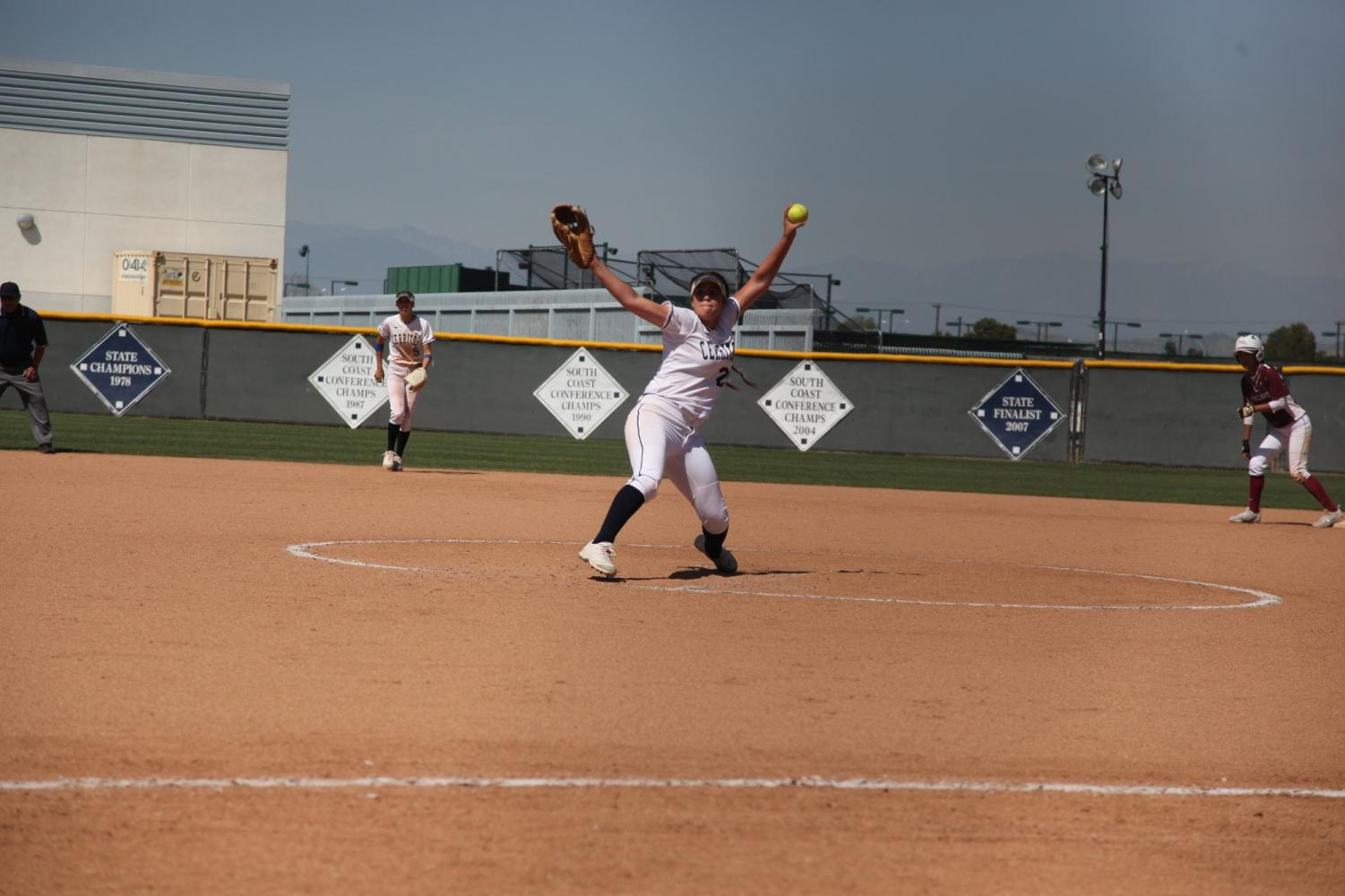 Sophomore pitcher No. 20 Sierra Gerdts pitching in the second game against Southwestern College in a doubleheader on April 13, 2019 at Cerritos College. Gerdts pitched a total of four innings and allowed five hits and had one error.