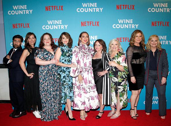 NEW YORK, NEW YORK - MAY 08: (L-R) Jason Schwartzman, Liz Cackowski, Emily Spivey, Tina Fey, Maya Rudolph, Rachel Dratch, Paula Pell, Ana Gasteyer and Amy Poehler attend the Netflix Premiere of