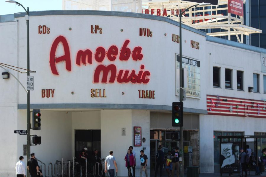 The+neon+marquee+outside+of+Amoeba+serves+as+a+beacon+for+the+ecosystem+that+is+the+Sunset+Strip.+Photo+credit%3A+Michael+Reza