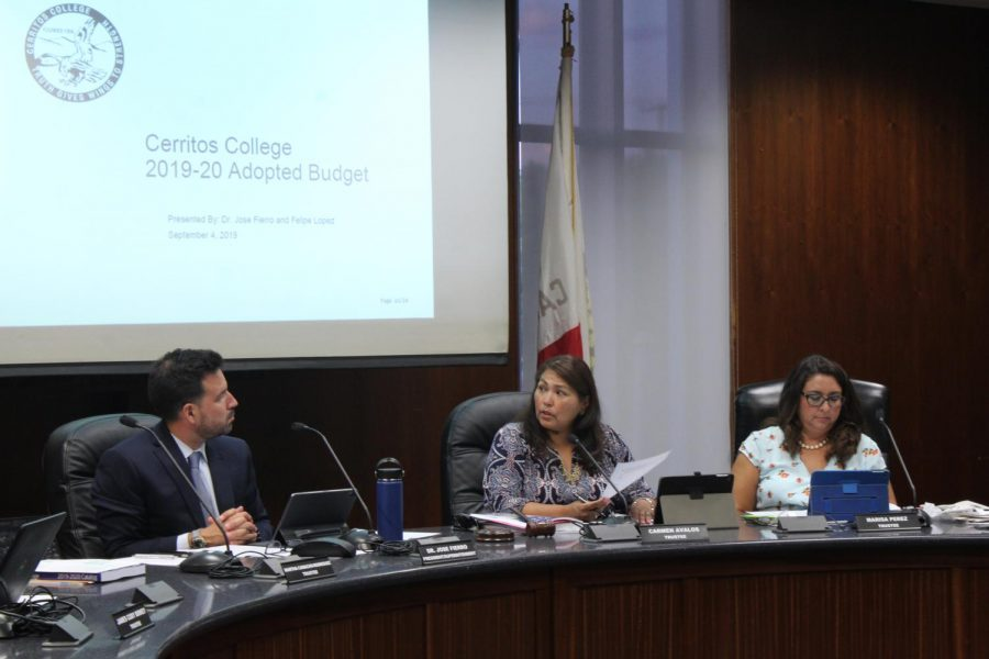 From left to right, President Jose Fierro, Board President Carmen Avalos and Board Vice President Marisa Perez discuss the newly passed resolution on adequate safety and security measures. The resolution was in response to the bomb threat made by Mohammad Sameem  Yaqubi on September 3, 2019.
