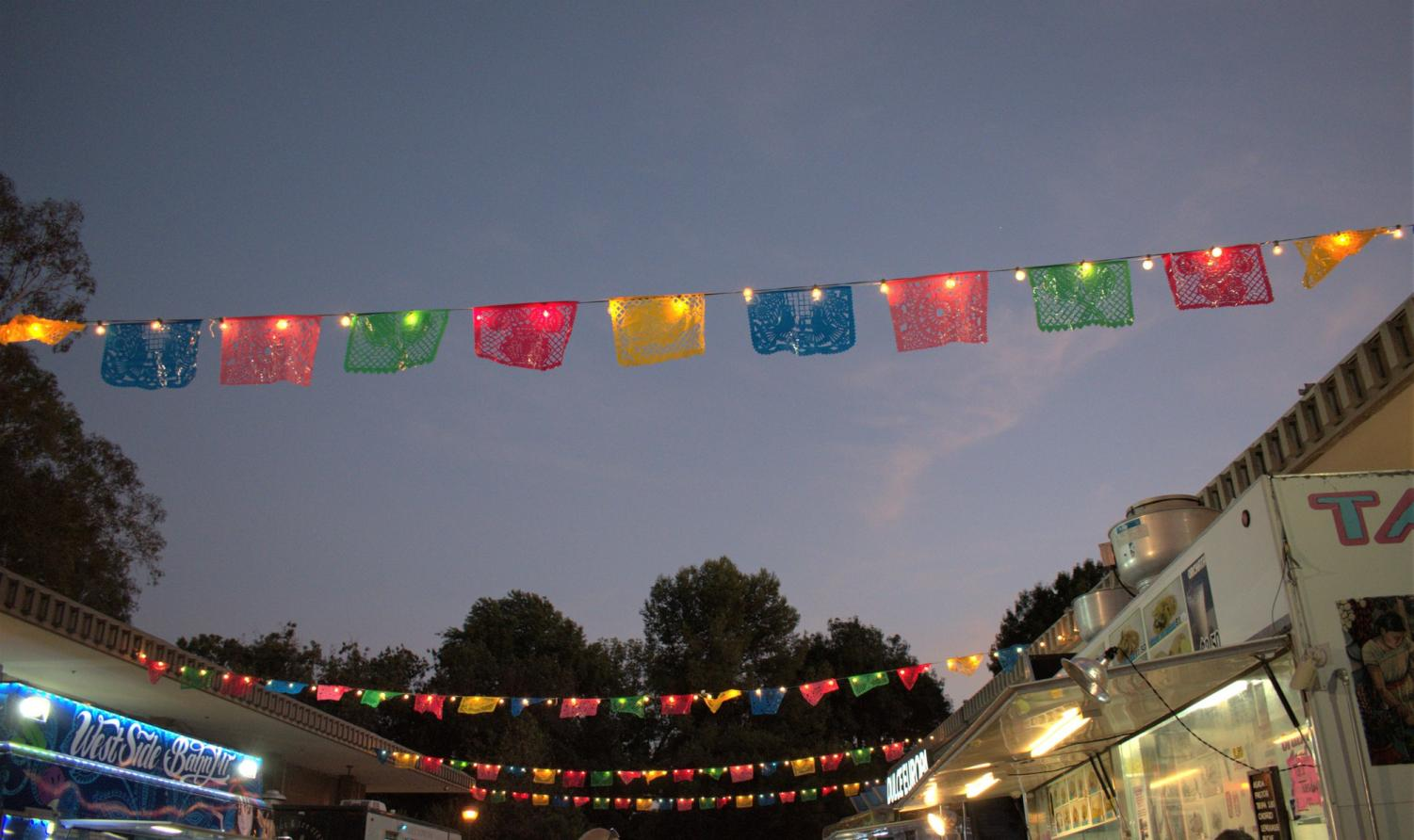 Colorful+decorations+and+bright+lights+were+placed+at+the+Fiesta+Patrias+event.+