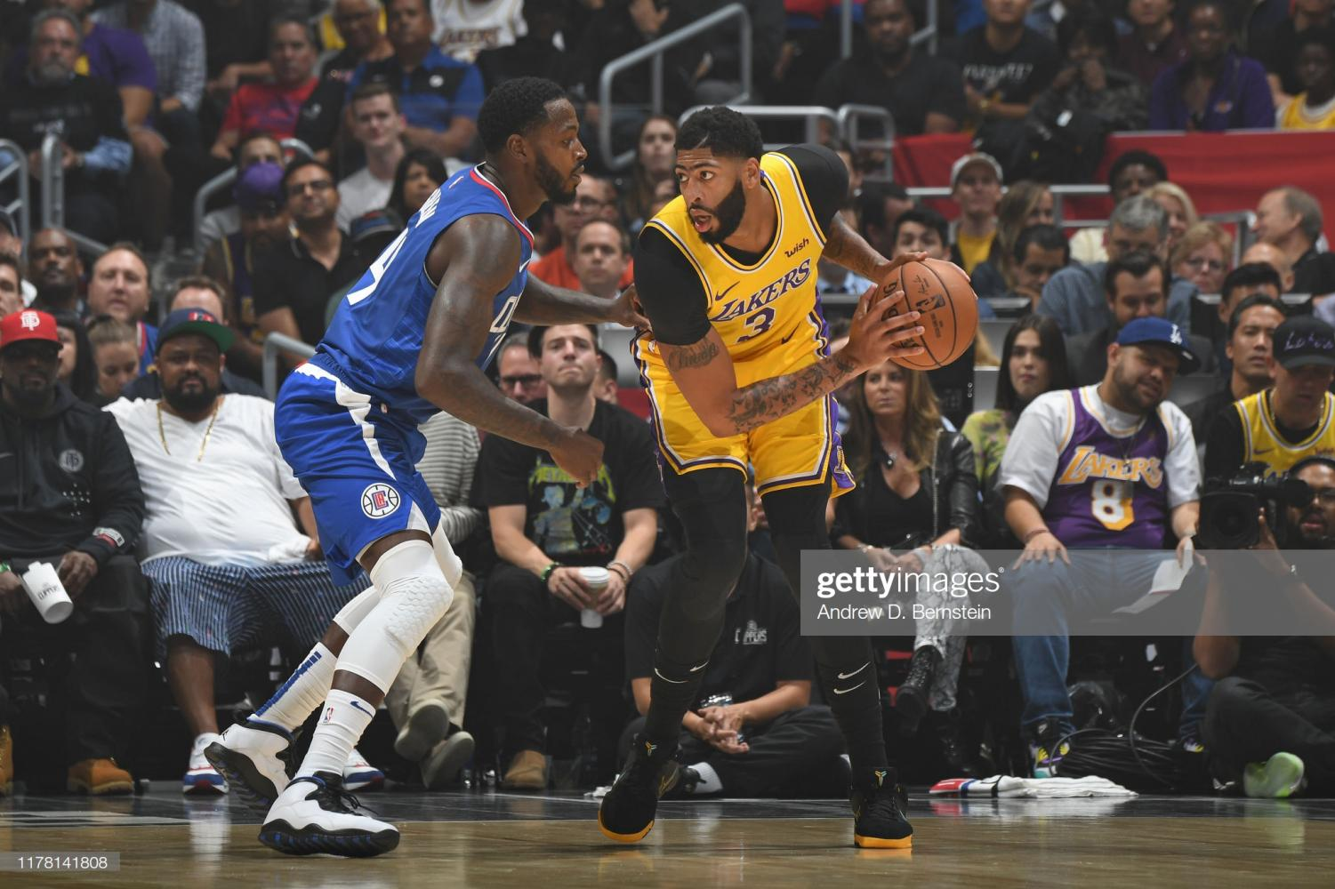 LOS ANGELES, CA - OCTOBER 22: Anthony Davis #3 of the Los Angeles Lakers handles the ball against the LA Clippers on October 22, 2019 at STAPLES Center in Los Angeles, California. NOTE TO USER: User expressly acknowledges and agrees that, by downloading and/or using this Photograph, user is consenting to the terms and conditions of the Getty Images License Agreement. Mandatory Copyright Notice
