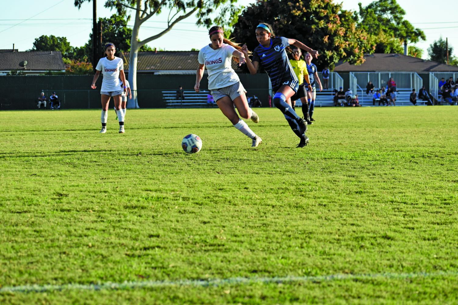 Cerritos Falcons: Sophomore Midfielder #10 dominates the ball against the Long Beach Viking. Falcons beat the Vikings 1-0 Oct. 3, 2019