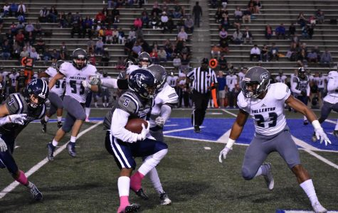 Running: Sophomore wide receiver CJ Parks No. 5 had a standout performance, breaking the 50 year old pass reception record with 13 catches. His two touchdown catches help push the Falcons over the finish line Oct. 19, 2019.