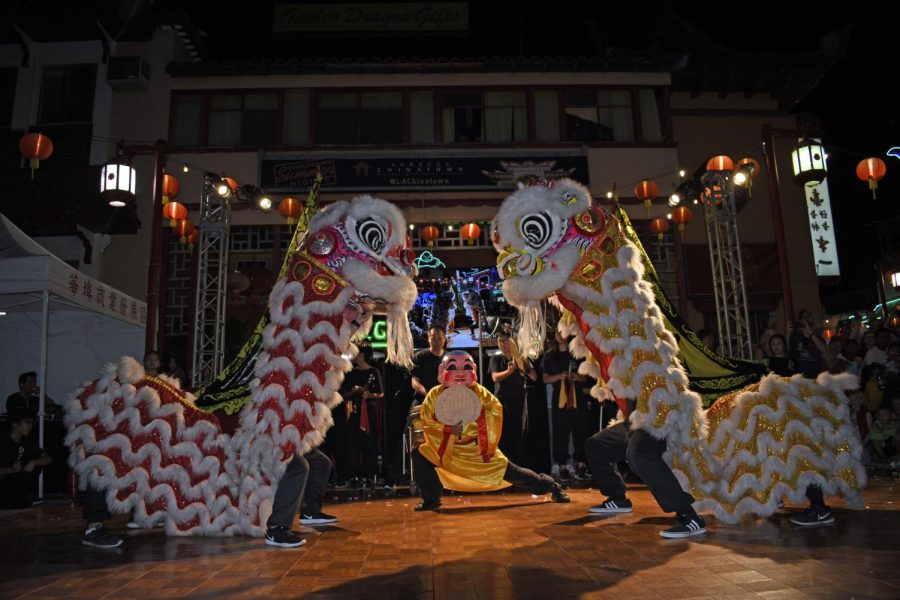 East Wind Youth Foundation lion dance performance to bring in good luck.  LA Chinatown Mid-Autumn Moon Festival on Sept. 15, 2019.