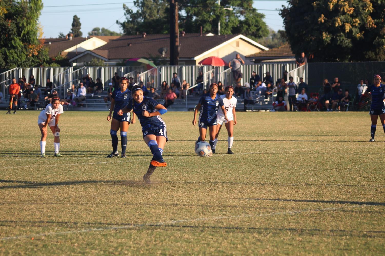 Freshman midfielder/defender No. 4 Alessandra Ramirez scored with a penalty kick in the second half. Tying the game 2-2. Photo credit: Naila Salguero