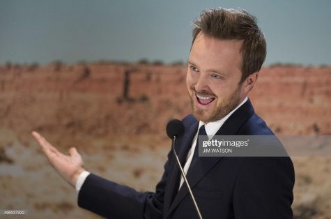 "US actor Aaron Paul, who played the character Jesse Pinkman in the AMC series ""Breaking Bad"", speaks at the National Museum of American History in Washington, DC, November 10, 2015, during memorabilia donation ceremony"