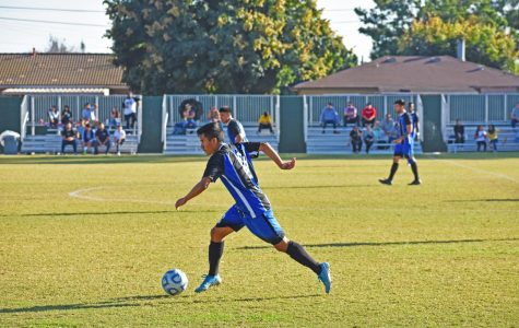 Defender Jorge Cardona, 18, pressures the ELAC defense. The Cerritos offense controlled the flow of the game with nine shots on goal to the ELAC one.