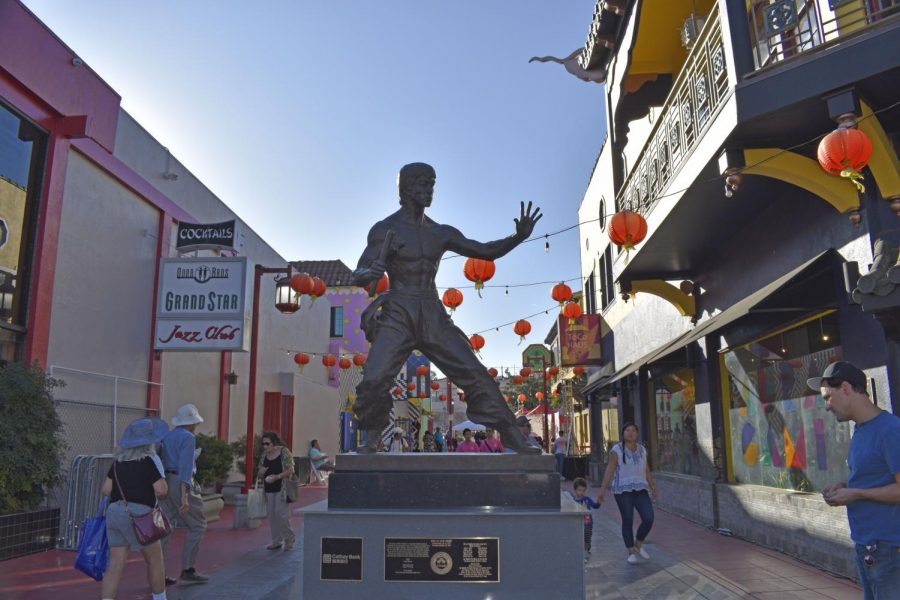 Bruce Lee statue in Central Plaza, Chinatown. LA Chinatown Mid-Autumn Moon Festival on Sept. 15, 2019.