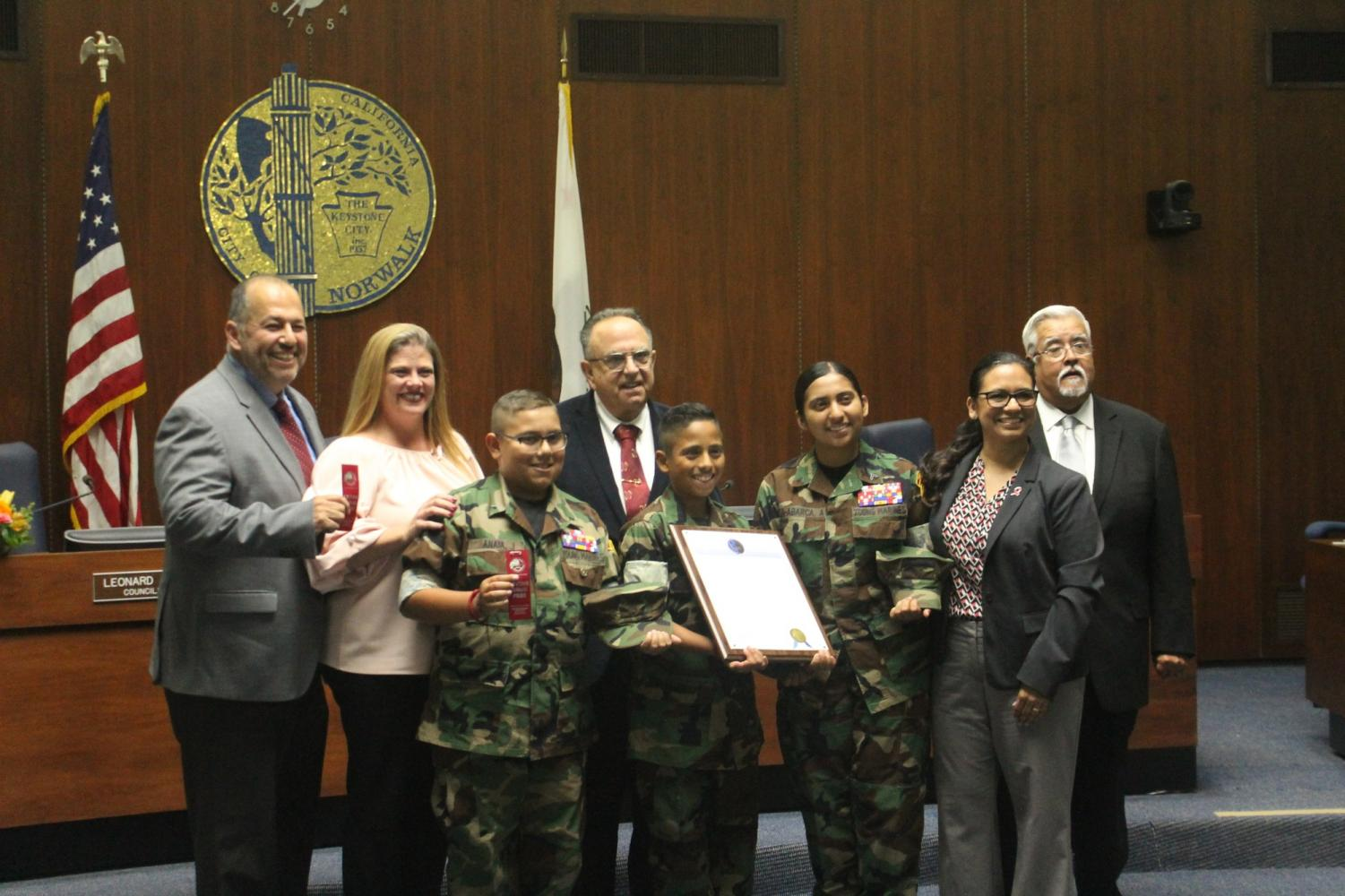 The city council gave out an award to a couple of local kids for Red Ribbon Week. Photo credit: Oscar Torres