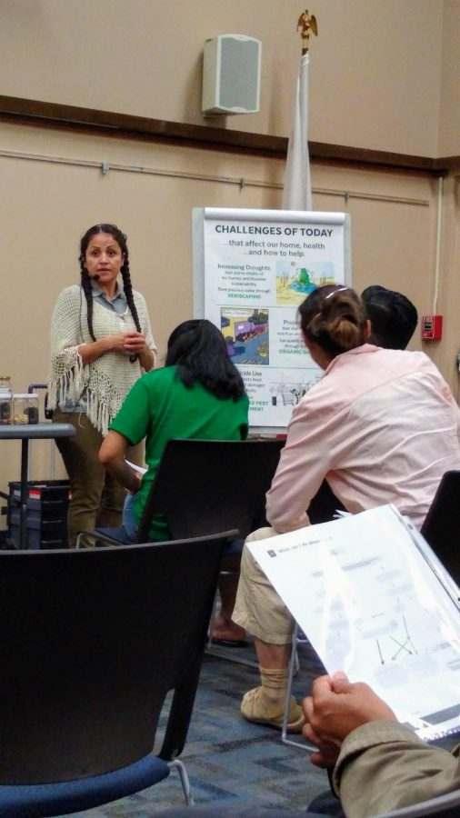 Mireya Arizmendi de Haddad talks about the challenges of gardening and water preservation. This was a helpful way for everyone to learn what to do. Photo credit: Vivian Yglesias
