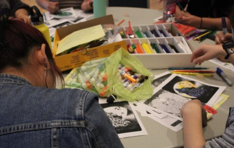 Students coloring Mandalynths, a technique which focuses the mind to keep you grounded.