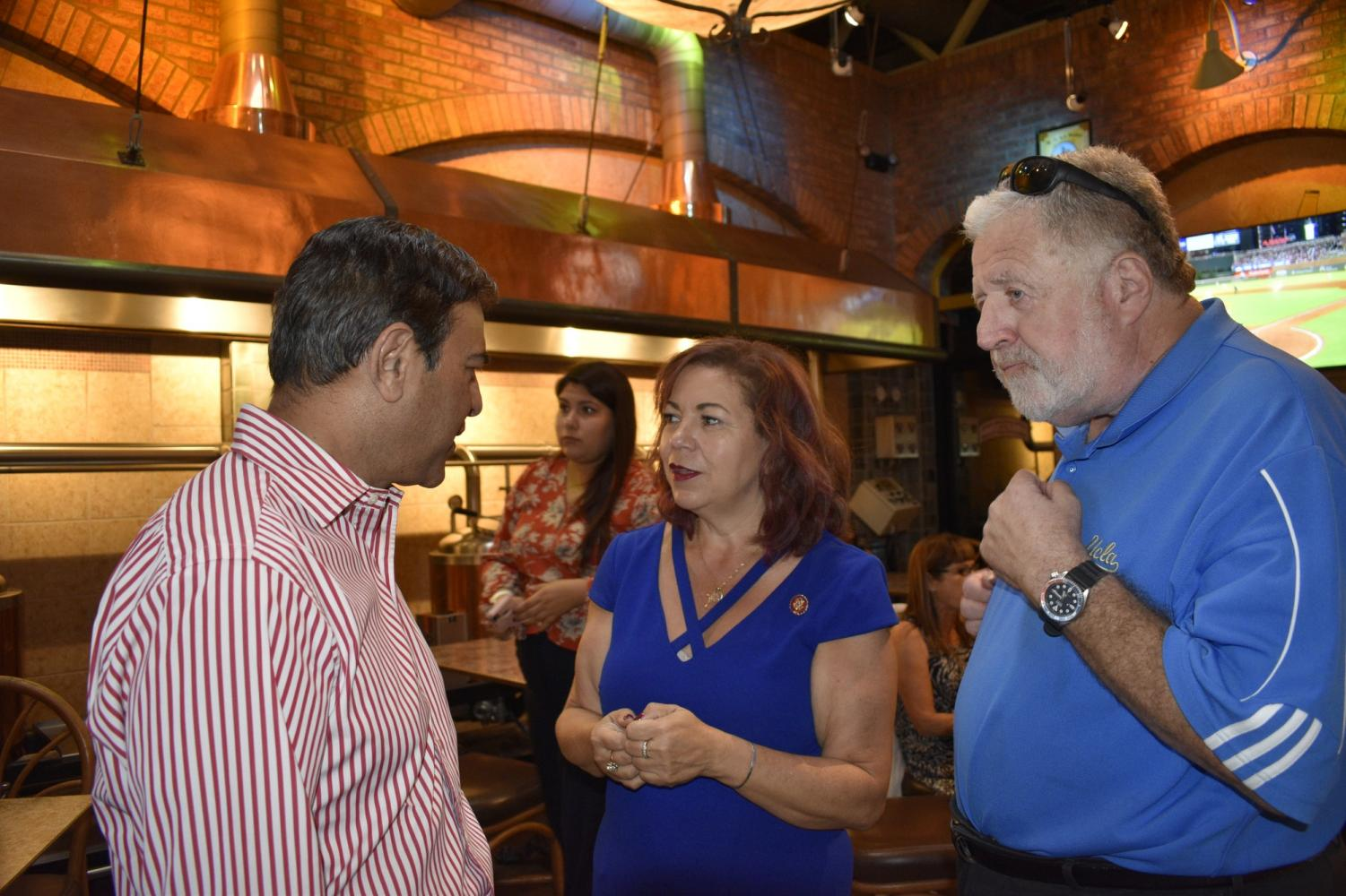 Congresswoman Linda Sanchez campaign meet and greet to collect signatures on Oct. 3, 2019. Artesia Mayor Ali Taj, Congresswoman Linda Sanchez and Lou Delgado discussed issues pertaining to Artesia. Photo credit: Denise Ng
