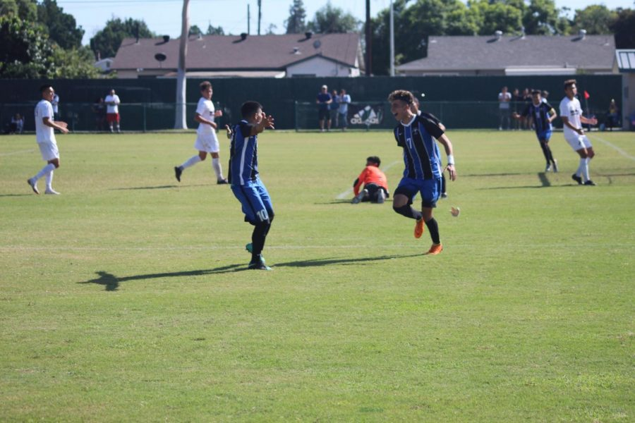 Freshman No 7 Armando Ibarra and Sophmore No. 10 Bryan Ortega celebreting Armando's goal. This was the first goal of the match. Photo credit: Abel Montoya