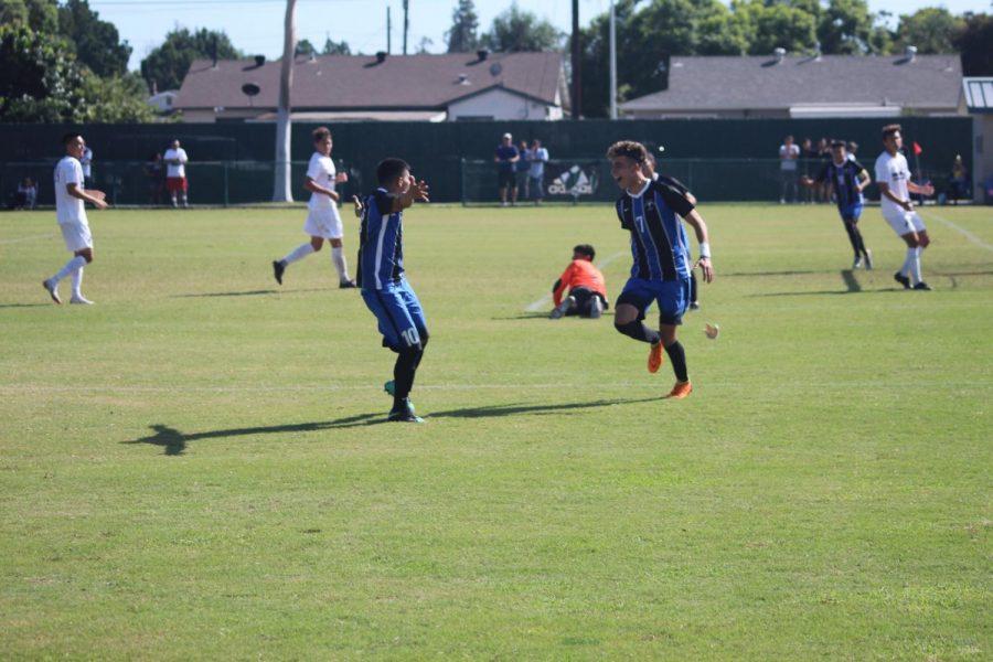 Freshman+No+7+Armando+Ibarra+and+Sophmore+No.+10+Bryan+Ortega+celebreting+Armando%27s+goal.+This+was+the+first+goal+of+the+match.+Photo+credit%3A+Abel+Montoya