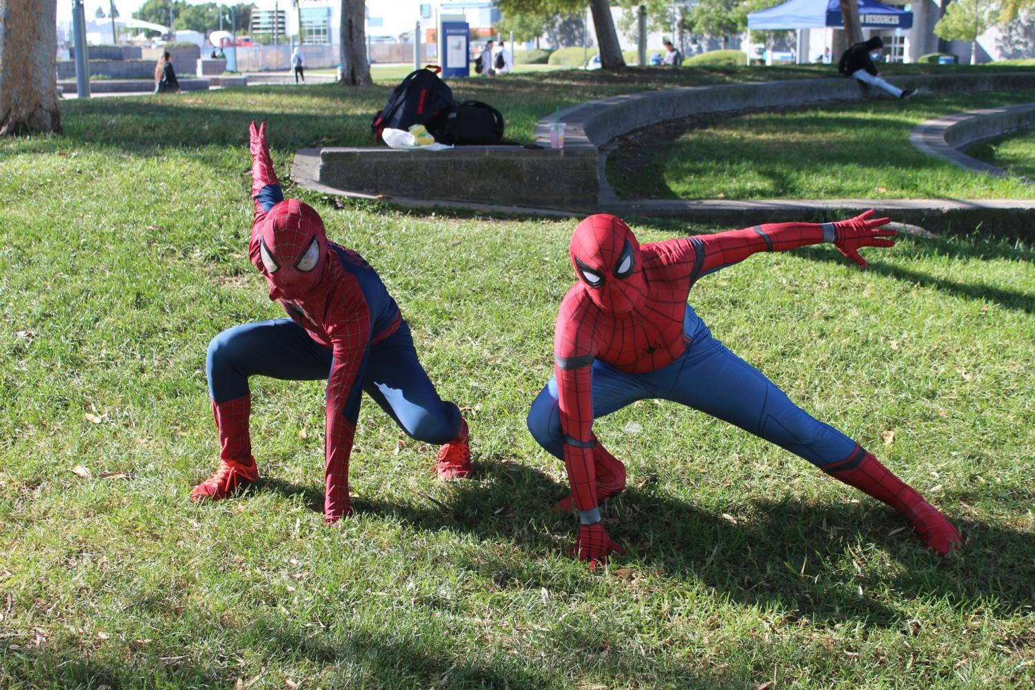 Two spiderman from different universe encounter themself at the Zombie fest at Cerritos College on Oct. 31 Photo credit: Abel Montoya
