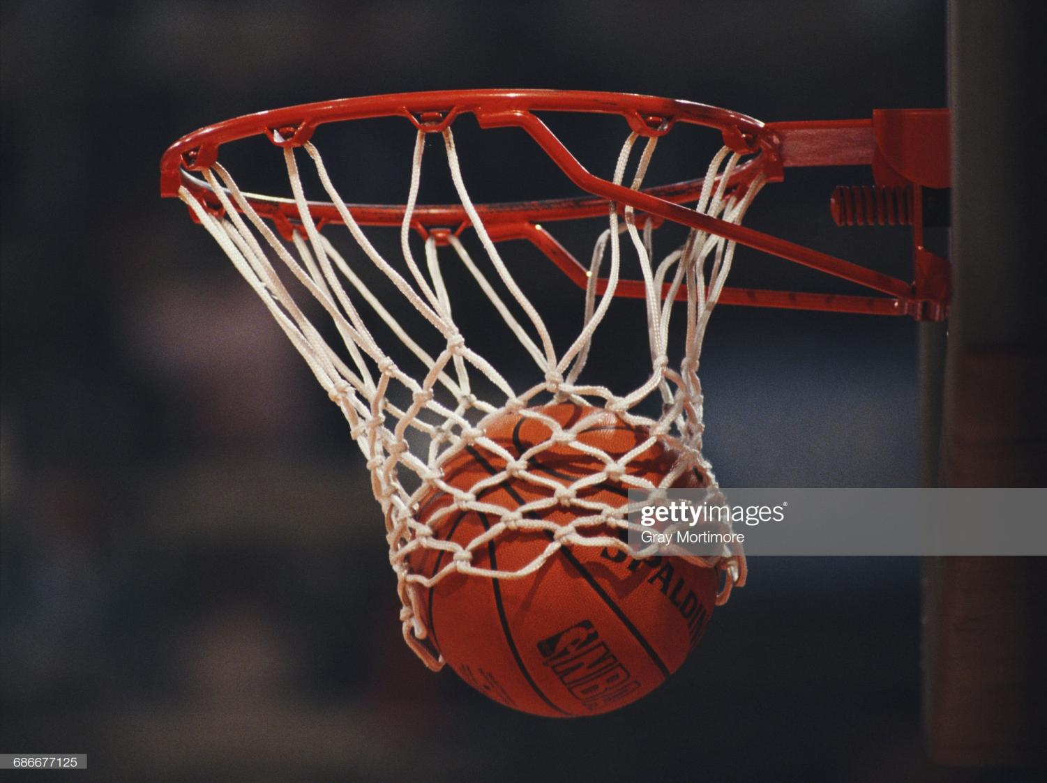 Generic view of a Spalding NBA basketball dropping into the hoop during the FIBA European Basketball Championship on 25 June 1989 at the Dom Sportova in Zagreb, Yugoslavia.