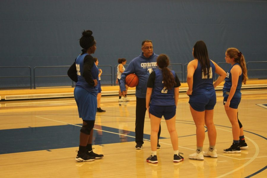 Rallying the team: Coach Joe Pacheco, motivating his team during practice. The women's basketball team is looking forward to an excellent season, and hopes to continue racking up victories with each passing game. The team next plays against Golden West College in a home game that takes place on Dec. 18, 2019. Photo credit: Quinae Austin