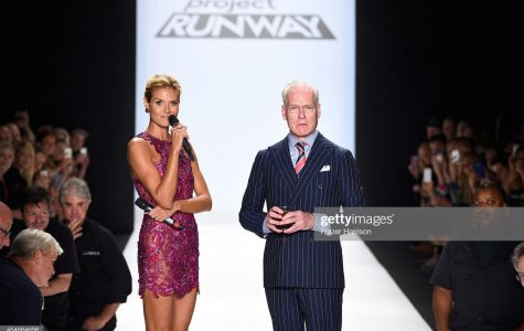 NEW YORK, NY - SEPTEMBER 05: Heidi Klum (L) and Tim Gunn walk the runway at the Project Runway fashion show during Mercedes-Benz Fashion Week Spring 2015 at The Theatre at Lincoln Center on September 5, 2014 in New York City