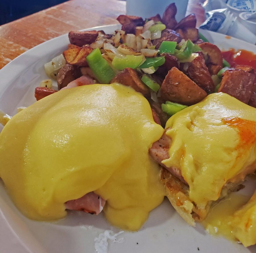 The+eggs+Benedict+are+an+eggy+delight+that+creates+an+orchestra+of+outstanding+flavors+in+your+mouth.+A+side+of+Irish+potatoes+will+piece+together+the+entire+dish+together+beautifully.+