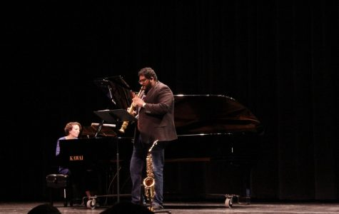 A classical duo perform at the Cerritos College Burnight Theatre