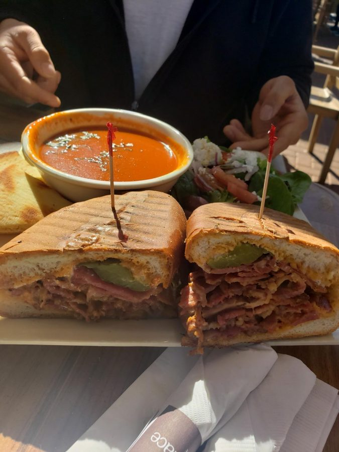 Feta pastrami sandwich with a rich house-made tomato soup and a Greek feta salad.