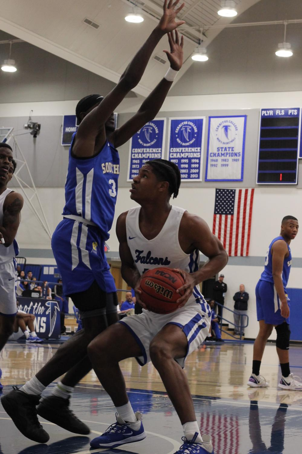 Jaishon Forte, forward No.11, prepares to take a shot against LA Southwest. The Falcons beat the Cougars on February 5, 2020. Photo credit: Derrick Coleman