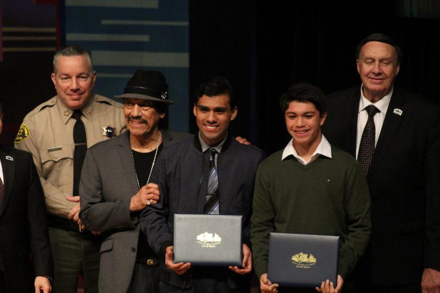 Trejos Honors: Left to right: Villanueva, Trejo, Fernando Ruiz, Andrew Ferrer, Dan Koops. Hosts pose with scholarship recipients on Feb. 7, 2020. Photo credit: Daniel Suarez Jr.