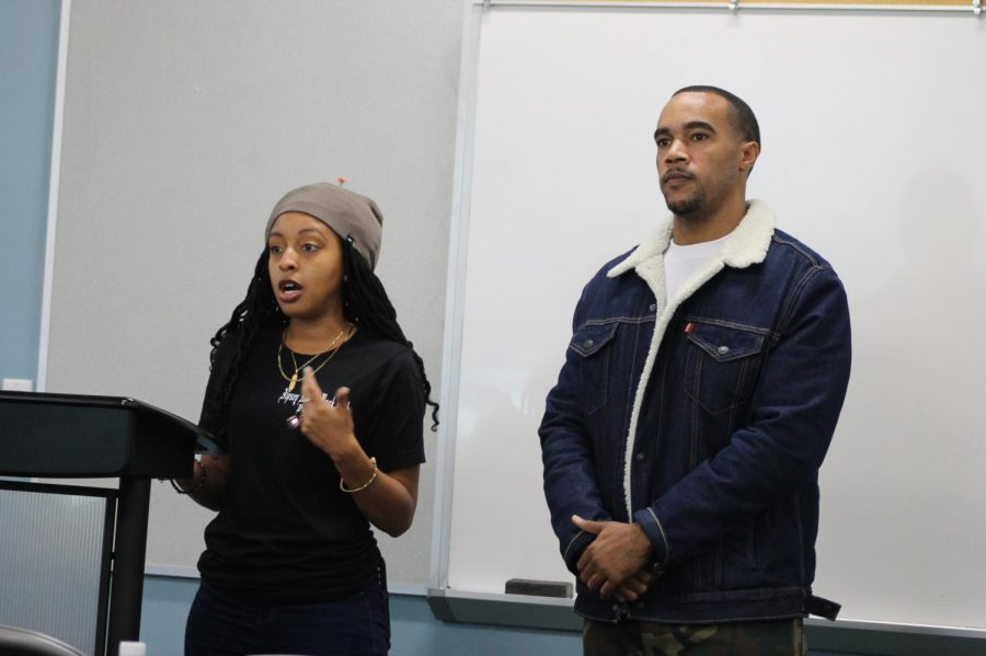 Founders Maria Gates and Joe Gardina talked about the Nipsey hussle book club at the Toni Morrison and Nipsey hussle tribute on Feb. 12, 2020. Photo credit: Derrick Coleman