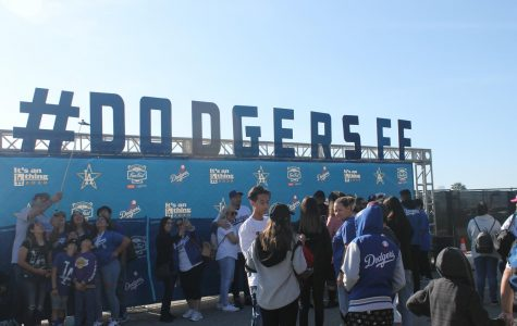 Many fans attending the Dodgers Fan Fest stop in front of the selfie station to take their best selfie. Dodger stadium hosts all fans for the event on Jan. 25, 2020. Photo credit: Luis Lemus
