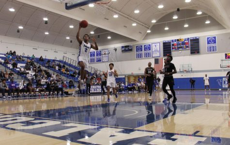 Freshman Guard No. 2 Joshua Belvin helps the Falcons defeat Compton College. Cerritos won for the 27th time in Conference Champs on February 19, 2020. Photo credit: Derrick Coleman
