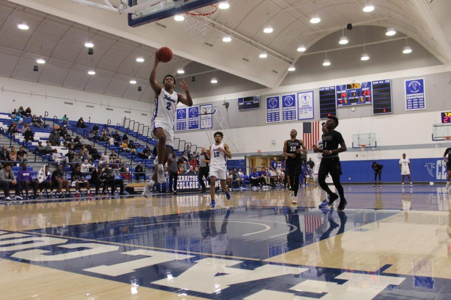 Freshman+Guard+No.+2+Joshua+Belvin+helps+the+Falcons+defeat+Compton+College.+Cerritos+won+for+the+27th+time+in+Conference+Champs+on+February+19%2C+2020.+Photo+credit%3A+Derrick+Coleman