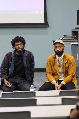 "Cerritos College English professor Damon Cagnolatti and Cerritos colleg alumni Antoine ""AJ"" Girard. talked about their experience in the film on February 20, 2020 Photo credit: Derrick Coleman"