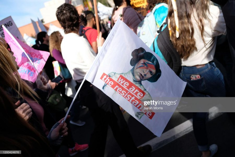 LOS ANGELES, CALIFORNIA - JANUARY 18: Signs of actress actress Carrie Fisher as Princess Leia are seen at the 4th Annual Women's March LA: Women Rising at Pershing Square on January 18, 2020 in Los Angeles, California.