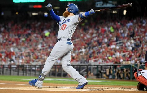 The Los Angeles Dodgers' Justin Turner hits a solo home run in the first inning against the Washington Nationals in Game 4 of the NLDS at Nationals Stadium in Washington, D.C., on October 7, 2019. (Wally Skalij/Los Angeles Times/TNS)