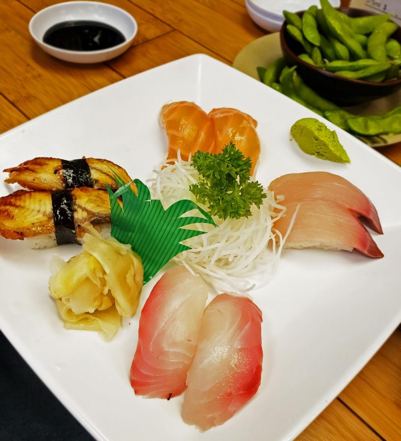 Sashimi+Plate+featuring+Salmon%2C+unagi+%28eel%29+Red+Snapper+and+yellow+tail.+A+plate+this+delicate+yet+full+of+delicious+savory+flavors+along+side+edamame+beans.